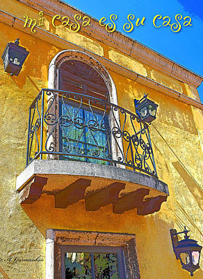 Hacienda Balcony Railing Lanterns Mi Casa Es Su Casa Art Print by A Gurmankin