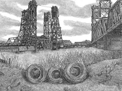 Hackensack River Train Bridge Art Print
