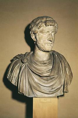 Statue Portrait Photograph - Hadrian 76-138. Roman Emperor 117-138 by Everett