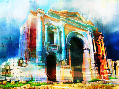 Rabat Painting - Hadrians Arch by Catf