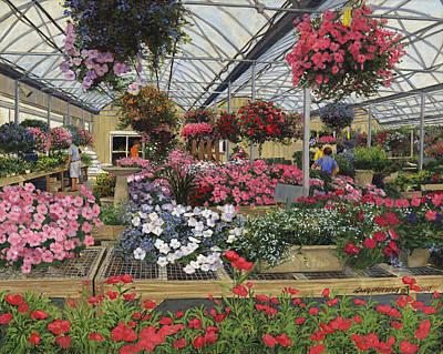Flower Shop Painting - Spring Flowers Haefner's Garden Center Hanging Baskets by Don  Langeneckert