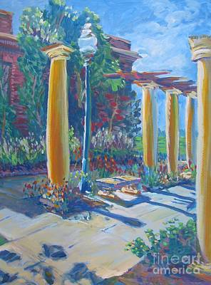 Decorative Benches Painting - Haggin Museum Rose Garden During Sunday by Vanessa Hadady BFA MA