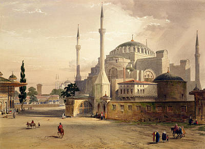 Byzantine Drawing - Haghia Sophia, Plate 17 Exterior View by Gaspard Fossati