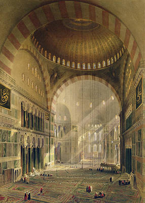 Byzantine Drawing - Haghia Sophia, Plate 24 Interior by Gaspard Fossati