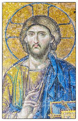 Byzantine Greek Icon Photograph - Hagia Sofia Jesus Mosaic by Antony McAulay