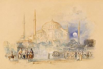 Istanbul Drawing - Hagia Sofia by Joseph Mallord William Turner