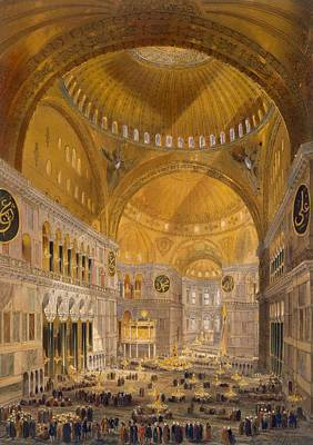 Turkey Drawing - Hagia Sophia, Constantinople, 1852 by Gaspard Fossati