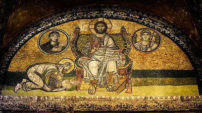 Byzantine Greek Icon Photograph - Hagia Sophia Imperial Gate Mosaic by Stephen Stookey