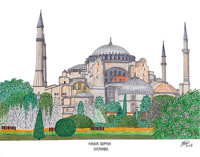 Drawing - Hagia Sophia Istanbul by Frederic Kohli