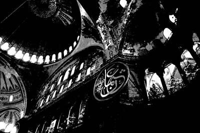 Photograph - Hagia Sophia Museum Ceiling High Contrast by Jacqueline M Lewis