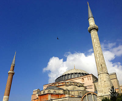 Hagia Sophia With Two Minarets Istanbul Turkey Art Print by Ralph A  Ledergerber-Photography