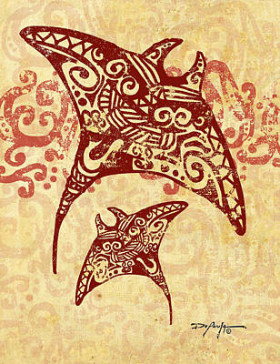Tattoo Art Mixed Media - Hahalua Manta Rays by William Depaula