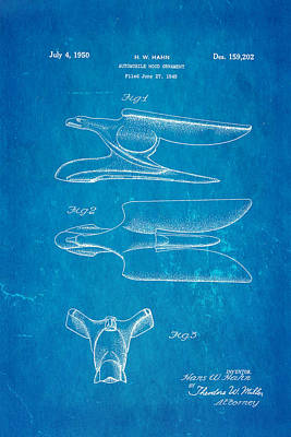 Hahn Hood Ornament Patent Art 1950 Blueprint Art Print by Ian Monk