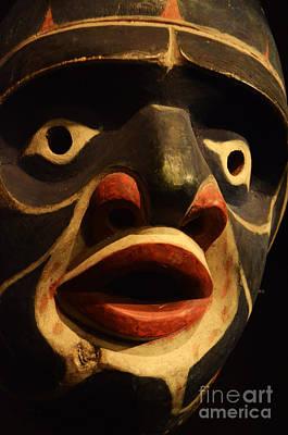 Haida Photograph - Haida Carved Wooden Mask 5 by Bob Christopher