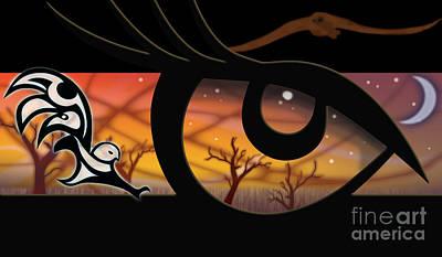Crow Digital Art - Haida Owl Raven Digital Illustration Owl Eyes by Sassan Filsoof