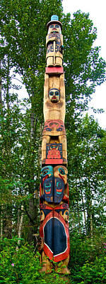 Haida-tlingit Totem Pole At Alaska Native Heritage Center In Anchorage-ak Original
