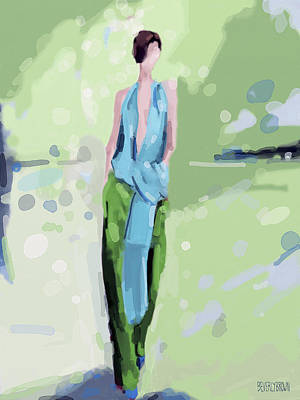 Blue And Green Painting - Haider Ackermann Fashion Illustration Art Print by Beverly Brown