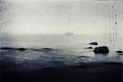 Boats In Water Mixed Media - Haiga Rowing Through The Mist by Peter v Quenter