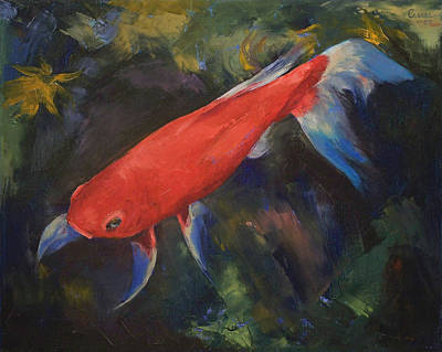 Haiku Wall Art - Painting - Haiku Koi Fish by Michael Creese