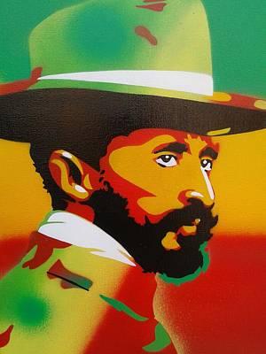 Reggae Kings Painting - Haile Selassie Painting by Leon Keay