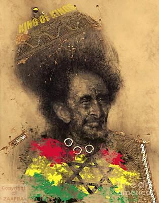Rasta Drawing - Haile Selassie by Zaafra David