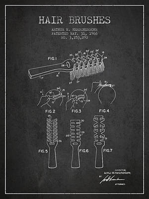 Hair Brush Patent From 1966 - Charcoal Art Print by Aged Pixel