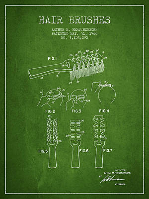 Barber Shop Drawing - Hair Brush Patent From 1966 - Green by Aged Pixel