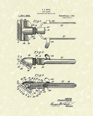 Drawing - Hair Clipper 1919 Patent Art by Prior Art Design