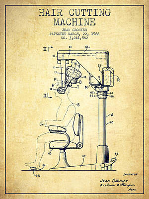 Barber Shop Drawing - Hair Cutting Machine Patent From 1966 - Vintage by Aged Pixel