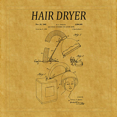 Photograph - Hair Dryer Patent 3 by Andrew Fare