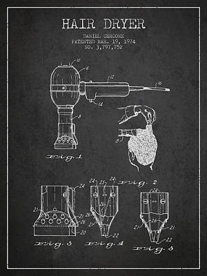 Hair Dryer Patent From 1974 - Charcoal Art Print