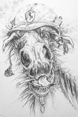 Drawing - Hair-ied Horse Soilder by Scott and Dixie Wiley