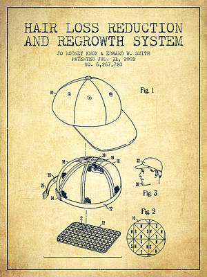 Baseball Royalty-Free and Rights-Managed Images - Hair loss reduction and regrowth system patent - Vintage by Aged Pixel