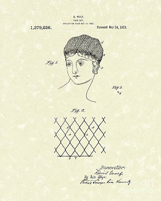 Drawing - Hair Net 1921 Patent Art by Prior Art Design