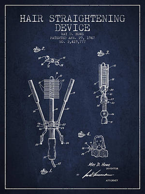 Hair Straightening Device Patent From 1947 - Navy Blue Art Print