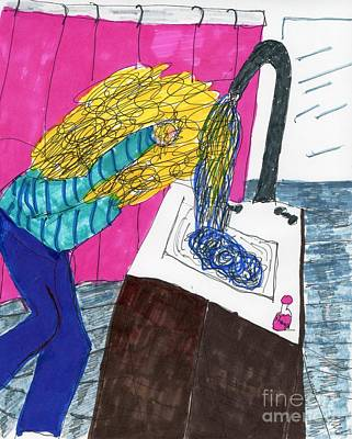 Hair-washing Mixed Media - Hair Wash by Elinor Rakowski