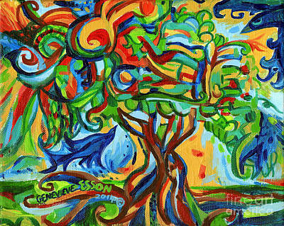 Painting - Hairdoodle Tree With Birds by Genevieve Esson