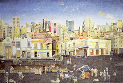 Hairdresser In The Plaza Roldan, 2001 Oil On Canvas Print by James Reeve