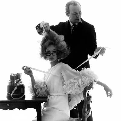 1960s Fashion Photograph - Hairstylist Kenneth Holding The Hair Of A Model by Bert Stern