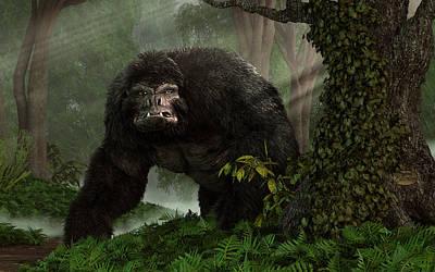 Gorilla Digital Art - Hairy Beast by Daniel Eskridge