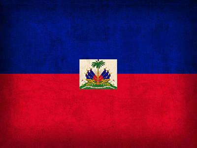 Haiti Flag Vintage Distressed Finish Art Print by Design Turnpike