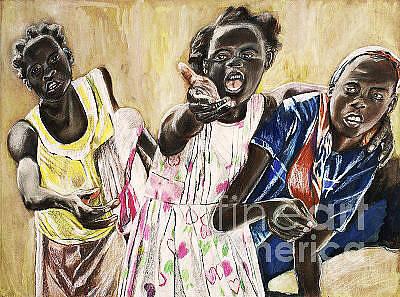 Haitian Drawing - Haitian Girls by Shante' Young