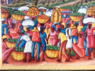 Haitian Painting - Haitian Market. by Haitian artist