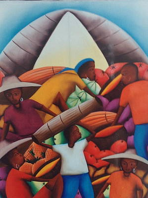 Haitian Painting - Haitian People And Fruits. by Haitian artist