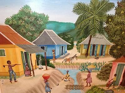 Haitian Painting - Haitian Village by Haitian artist