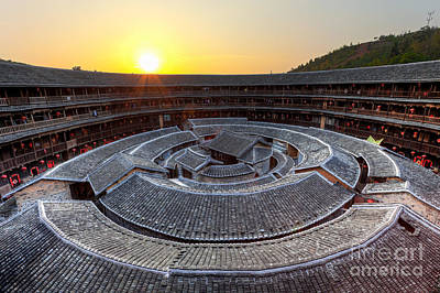 Hakka Tulou Traditional Chinese Housing At Sunset Art Print by Fototrav Print