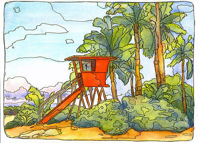 Haleiwa Mixed Media - Haleiwa Lifeguard Tower 2 by Stacy Vosberg