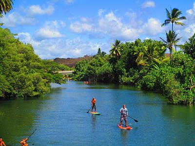 Claude Monet - Haleiwa Paddle Boarding by Elaine Haakenson