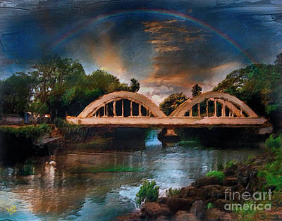 Haleiwa Digital Art - Hale'iwa Town's Rainbow Bridge by Patrick J Gallagher