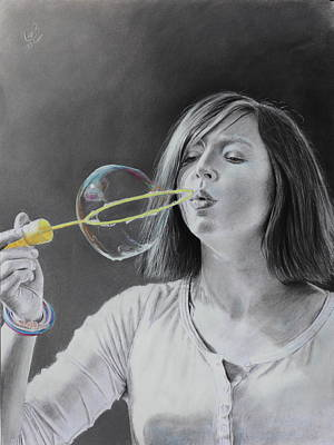 Art Print featuring the drawing Bubble Girl by Glenn Beasley